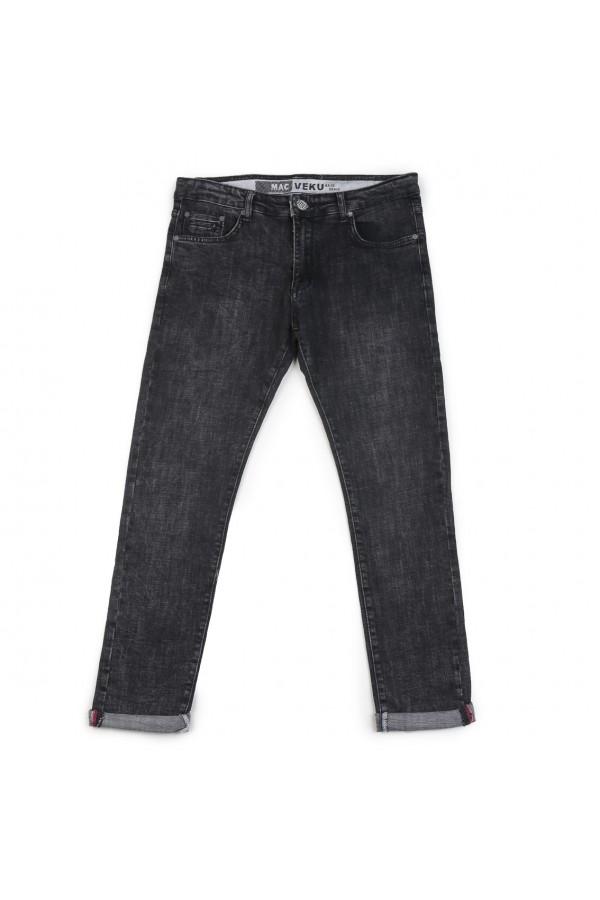 بنطلون جينز بخصر متوسّط الإرتفاع وجيوب