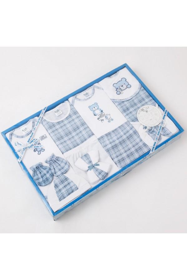 طقم ملابس كاروهات لحديثي الولادة - 14 قطعة